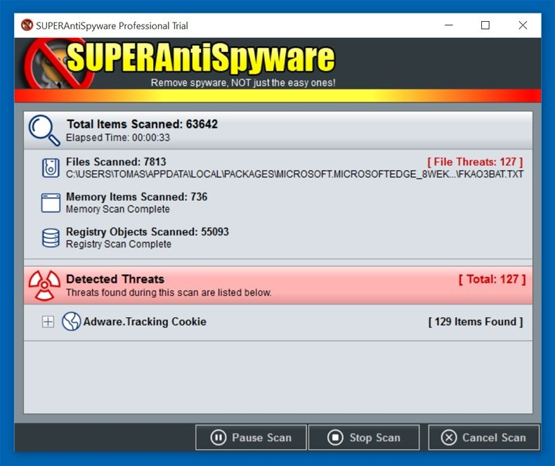 superantispyware security scan