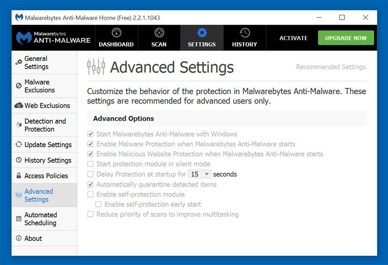 Malwarebytes advanced settings