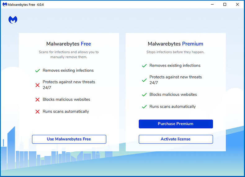 Malwarebytes 4.0 Free and Premium versions