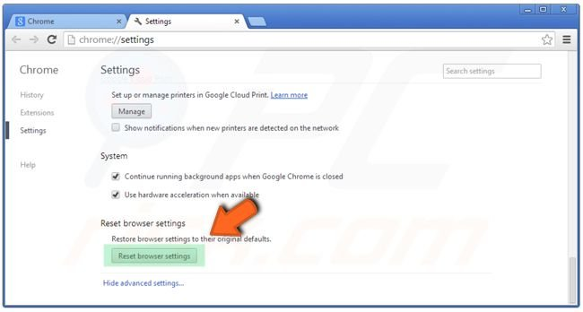 Google Chrome settings reset clicking on the Reset browser settings button