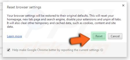 Google Chrome settings reset clicking on the reset button