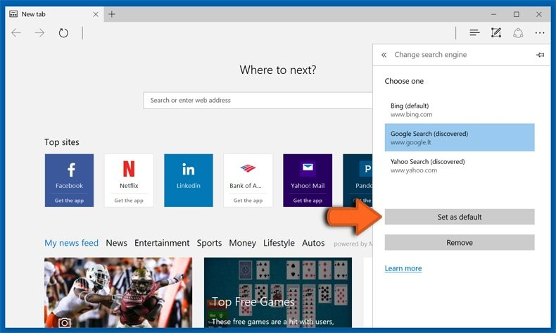 Changing default Internet search engine in Microsoft Edge