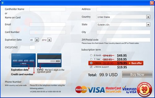 example of a webpage used to collect payments for fake antivirus programs