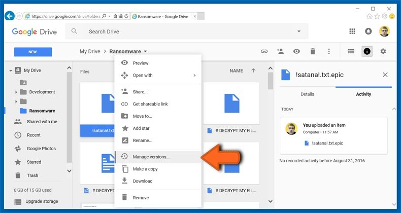 google drive manage versions