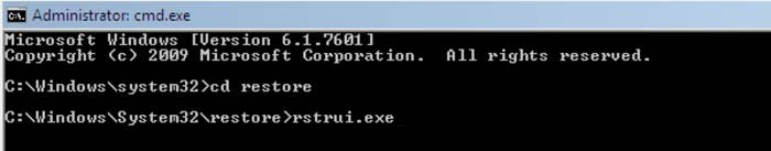 system restore using command prompt rstrui.exe