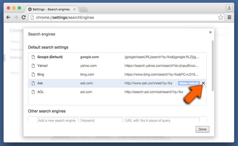 changing the default Internet search engine in Google Chrome
