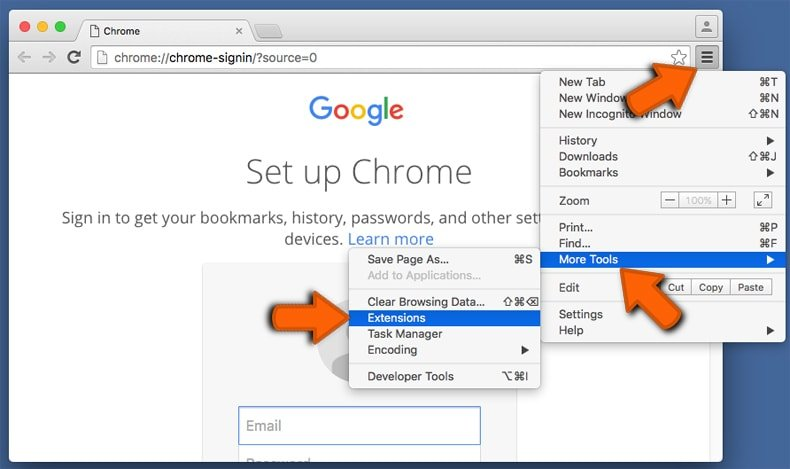 removing malicious google chrome extensions step 1