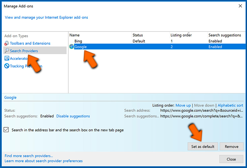 Changing the Default Search Engine in Internet Explorer (step 2)