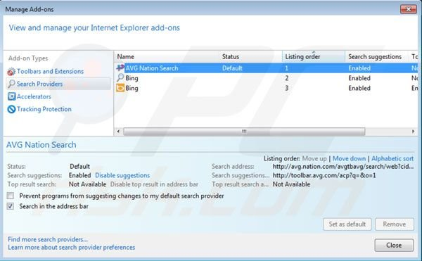 Nation Search Standardsuchmaschine bei Internet Explorer