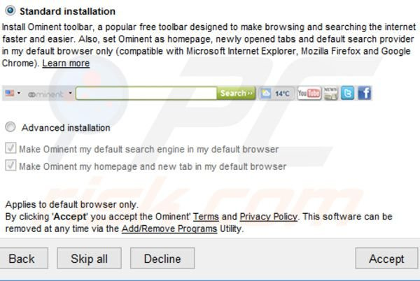 search.ominent.com Installer