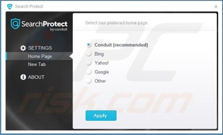 Search Protect von Conduit Einstellungen