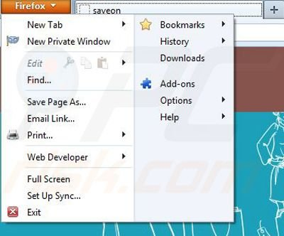 Removing Save On from Mozilla Firefox step 1