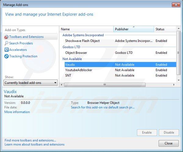 Removing vaudix from Internet Explorer step 2