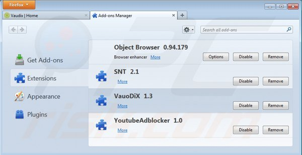 Removing vaudix from Mozilla Firefox step 2