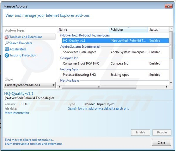 Removing hq-quality ads from Internet Explorer step 2