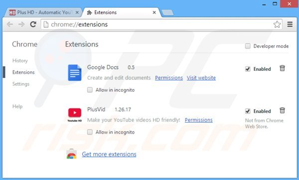 Removing plusvid from Google Chrome step 2