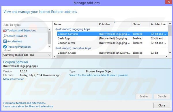Removing Couponarific ads from Internet Explorer step 2