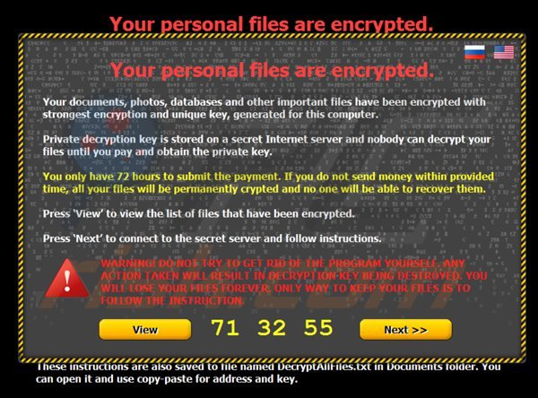 Your personal files are encrypted (citroni) ransomware