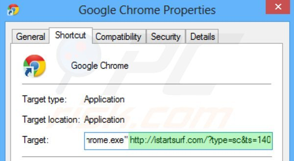 Removing istartsurf.com from Google Chrome shortcut target step 2