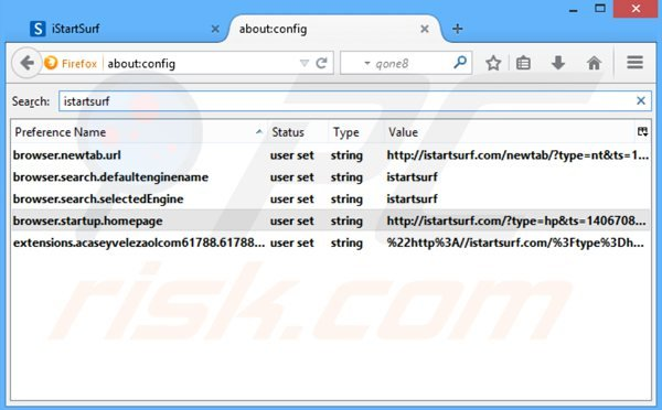 Removing istartsurf.com from Mozilla Firefox default search engine