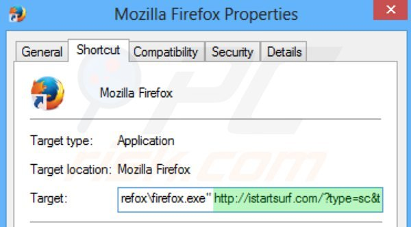 Removing istartsurf.com from Mozilla Firefox shortcut target step 2