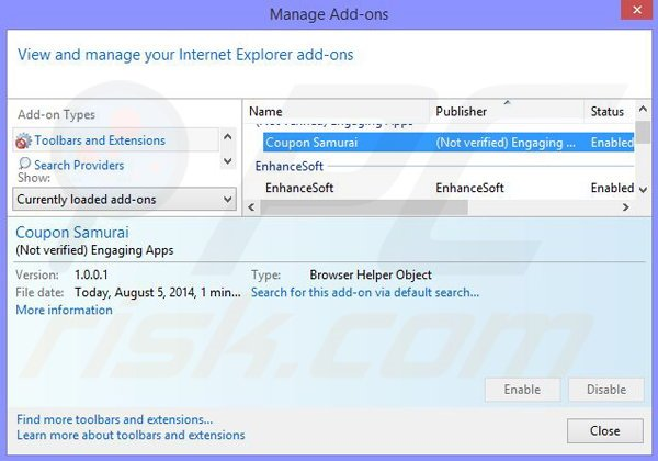 Removing Dolphin Deals from Internet Explorer step 2