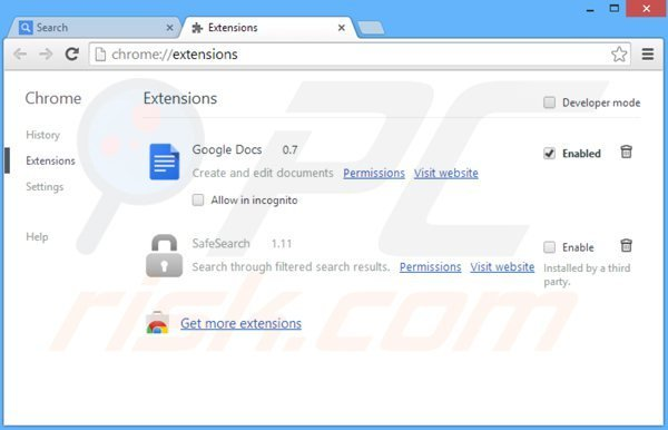 Removing safesear.ch related Google Chrome extensions