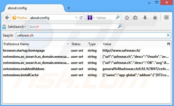Removing safesear.ch from Mozilla Firefox default search engine