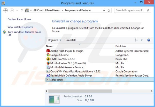 safesear.ch browser hijacker uninstall via Control Panel