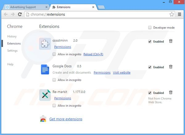 Removing web bar related adware from Google Chrome step 2