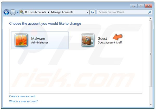 Windows 7 - activating guest account