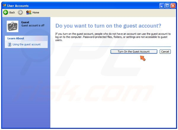 Turning on a guest user on Windows XP step 4 - clicking