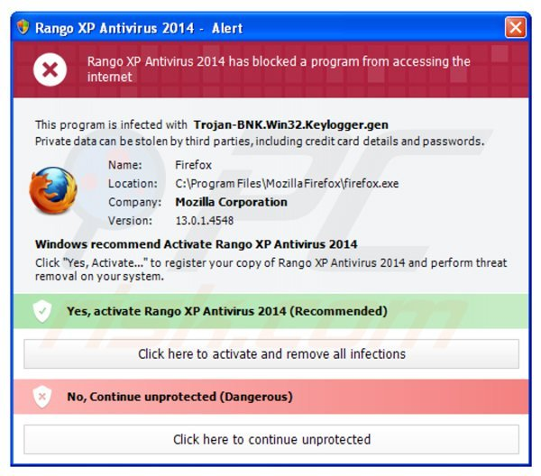 rango xp antivirus 2014 blocking execution of installed programs