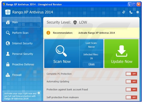 rango xp antivirus 2014 main window