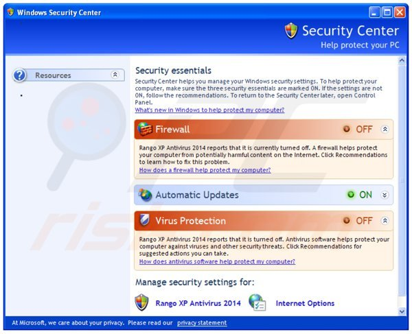 rango xp antivirus 2014 displaying a fake security center window