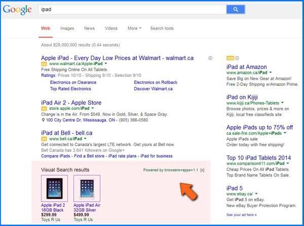 a sample of adware causing rogue ads in Google Internet search results