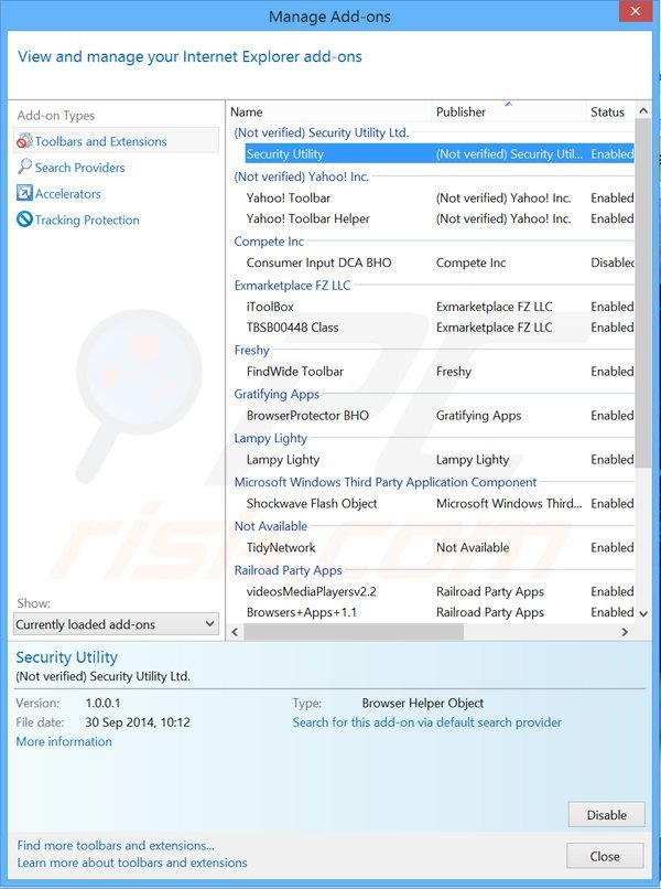 Removing security utility ads from Internet Explorer step 2