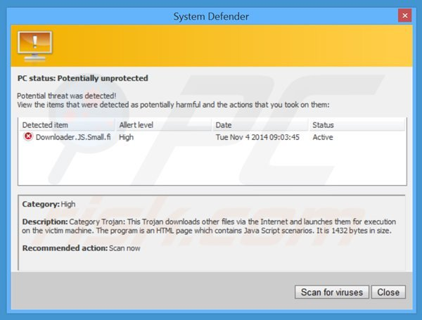 system defender generating fake security warning messages
