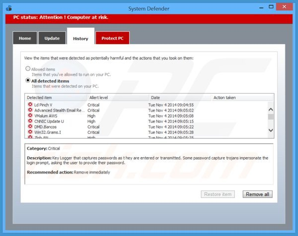 system defender showing a list of supposedly deteceted malware