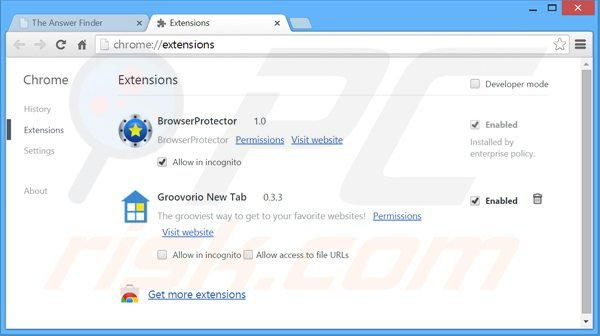 Removing theanswerfinder ads from Google Chrome step 2