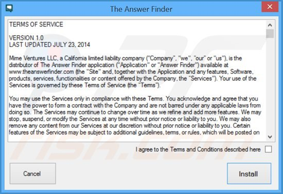 theanswerfinder adware installer setup