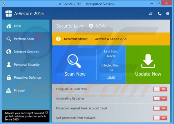 a-secure 2015 fake antivirus main window