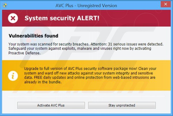 avc plus displaying fake security warning messages