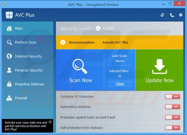 avc plus fake antivirus main window