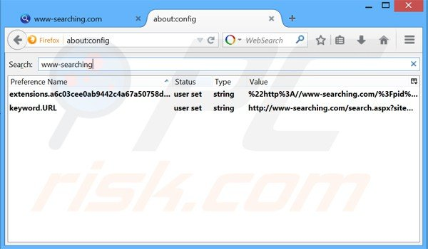 Removing www-searching.com from Mozilla Firefox default search engine