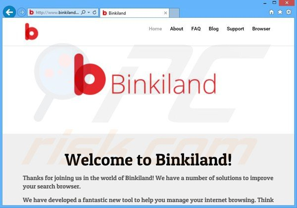 website promoting binkiland.com browser hijacker