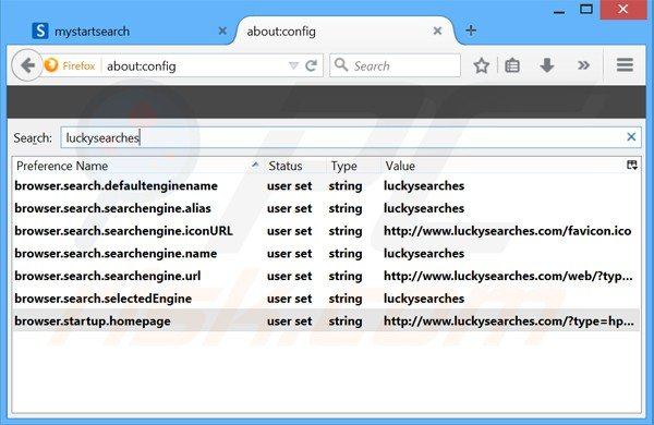 Removing luckysearches.com from Mozilla Firefox default search engine