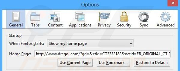 Removing dregol.com from Mozilla Firefox homepage