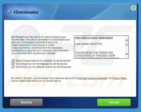 dregol.com browser hijacker installer