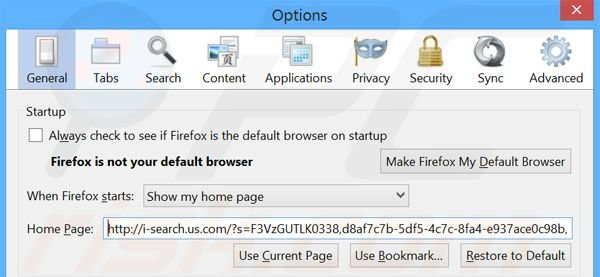 Removing i-search.us.com from Mozilla Firefox homepage